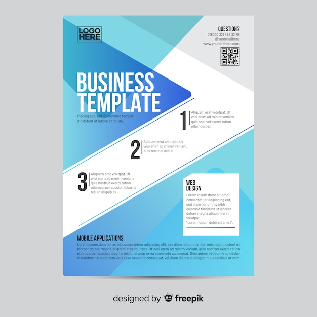 Geometric business infographic flyer template Free Vector