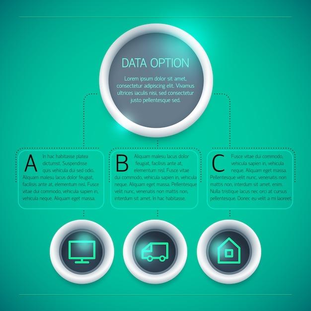 分離された緑の背景に円テキストアイコン3つのオプションと幾何学的なビジネスインフォグラフィックテンプレート 無料ベクター