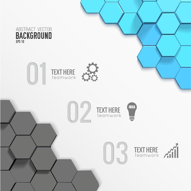 グレーとブルーの六角形の幾何学的なビジネスインフォグラフィックテンプレート 無料ベクター