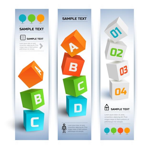 Геометрические бизнес-инфографики вертикальные баннеры с красочными 3d кубами Бесплатные векторы