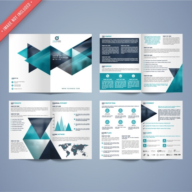 Geometric business leaflet Premium Vector