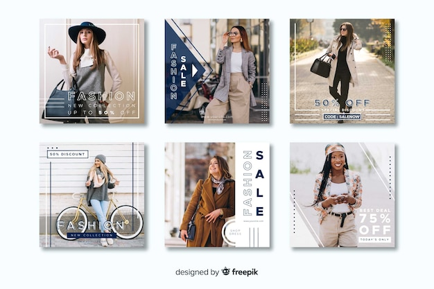 Geometric casual instagram post collection template Free Vector