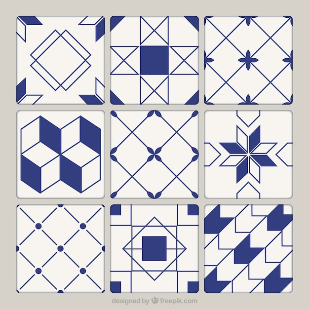Geometric Ceramic Tiles Collection Vector Premium Download