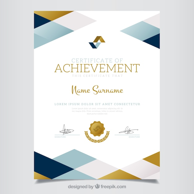 Geometric Certificate Of Achievement Free Vector  Free Achievement Certificates