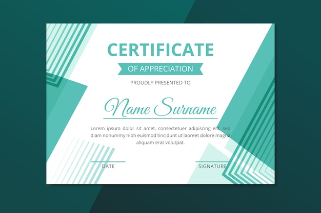Geometric certificate template abstract style Free Vector