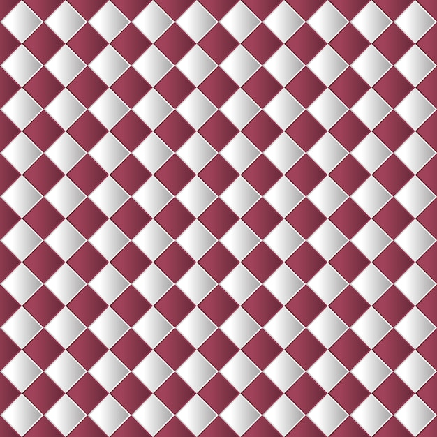 赤い色で幾何学的なチェス盤のシームレスなパターン背景 Premiumベクター