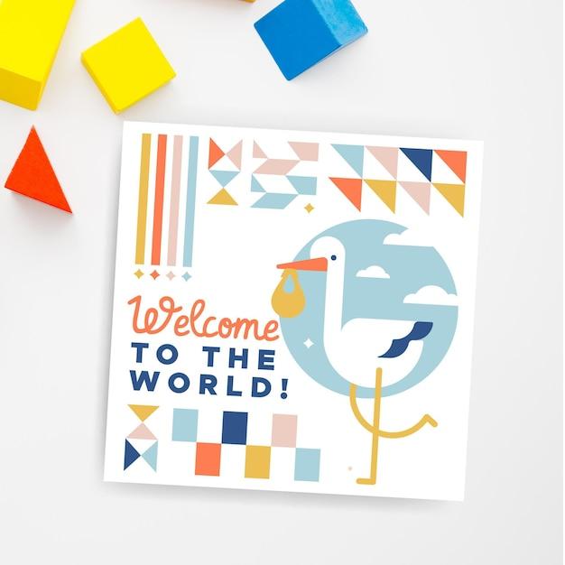 幾何学的な子供のような赤ちゃんのカード 無料ベクター