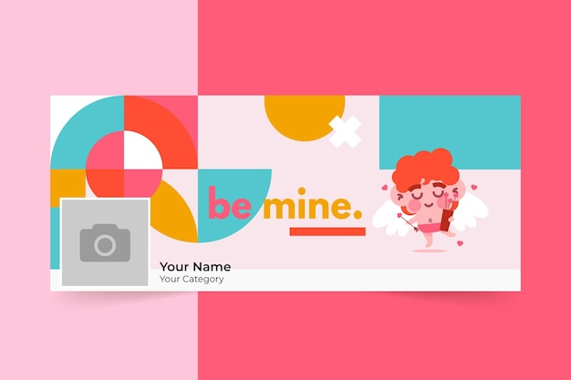 Geometric childlike valentine's day social media cover Free Vector