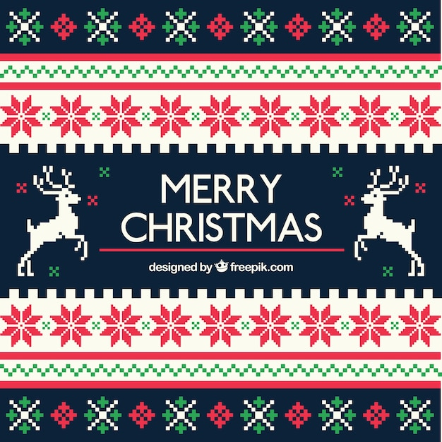 Geometric christmas background in cross stitch style Free Vector