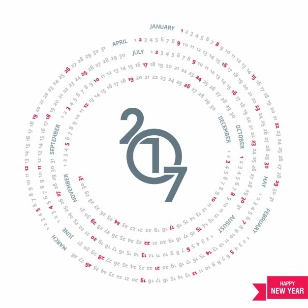 Geometric circular calendar for 2017 Vector | Free Download