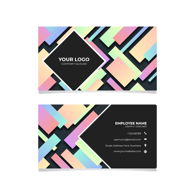 Geometric colorful business card Free Vector