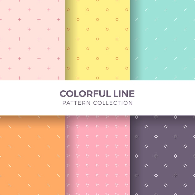 Geometric colorful lines seamless pattern collection Free Vector