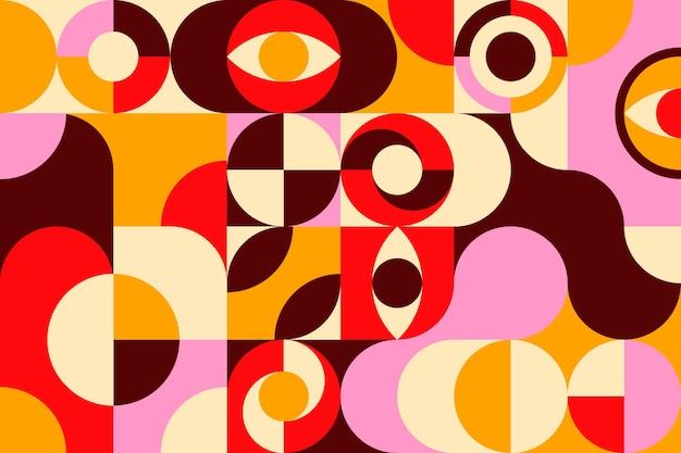 기하학적 다채로운 벽화 벽지 무료 벡터