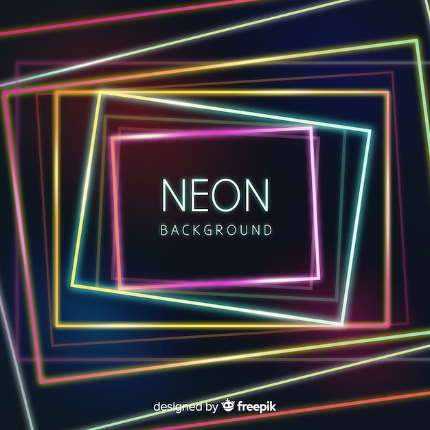 Geometric colorful neon shapes background Free Vector