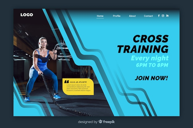 Geometric colorful sport landing page with photo Free Vector