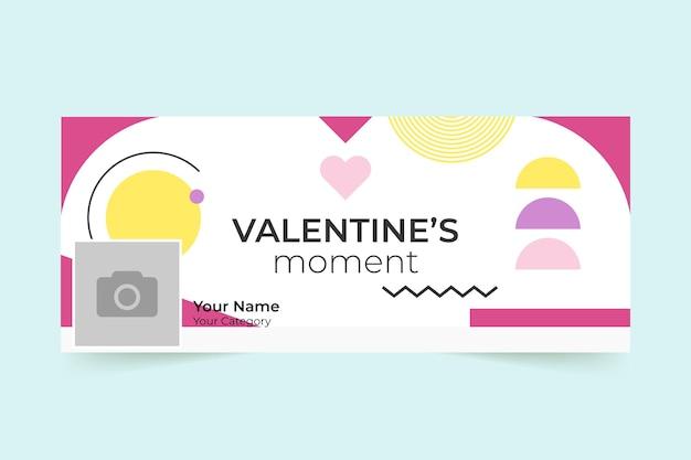 Copertina facebook geometrica colorata di san valentino Vettore gratuito