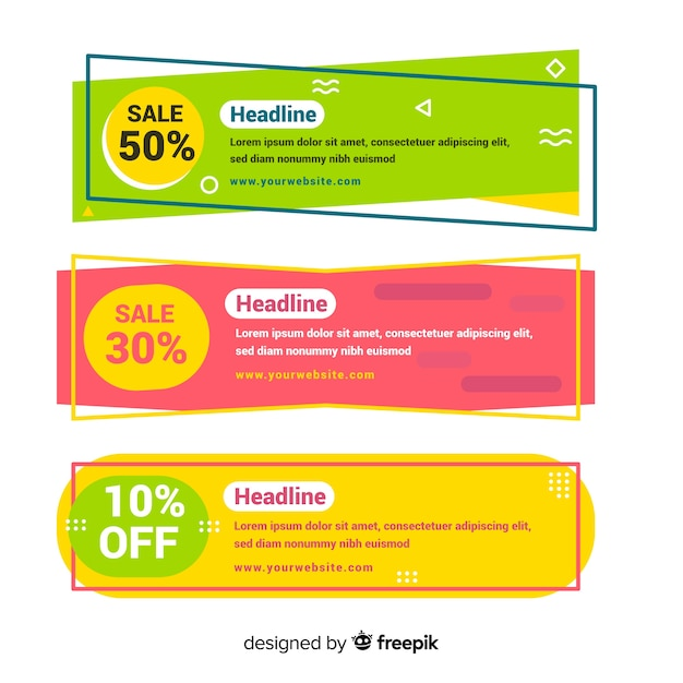 Geometric colourful sales banners Free Vector