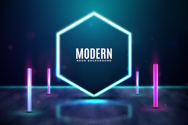 Geometric concept neon lights background Free Vector