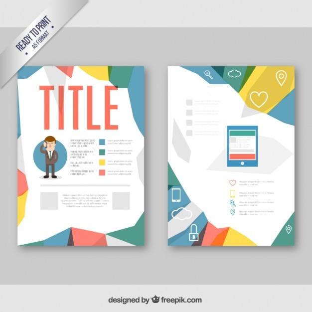 Geometric corporate brochure Free Vector