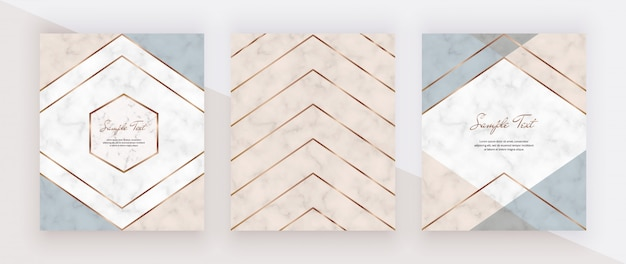 Geometric cover design with pink, blue triangular shapes and golden lines on the marble texture. Premium Vector