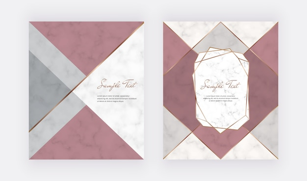 Geometric cover design with pink, grey triangular shapes and golden lines on the marble texture. Premium Vector