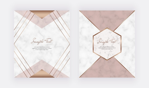 Geometric cover design with pink, nude triangular shapes and golden lines on the marble texture. Premium Vector