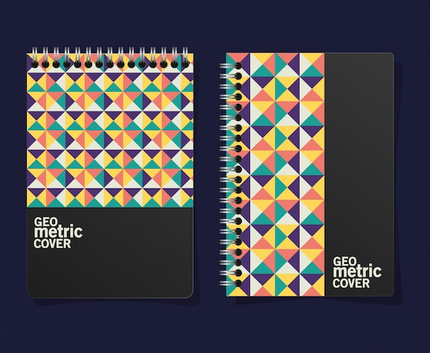 Geometric cover notebooks Premium Vector
