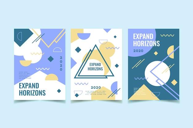 Геометрическая обложка с абстрактным дизайном Бесплатные векторы