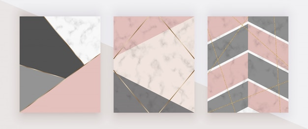 Geometric cover with pink, grey triangular shapes, golden lines on the white marble texture. Premium Vector