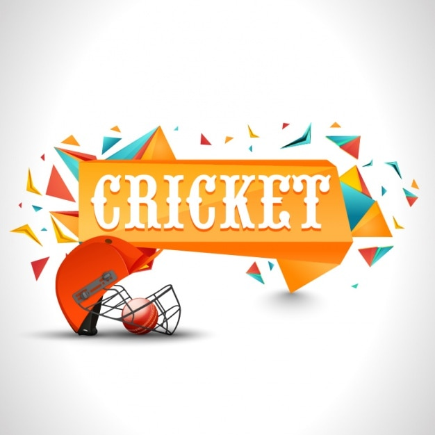 Geometric Cricket Background With Red Helmet Vector