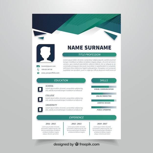 geometric curriculum template with flat design vector