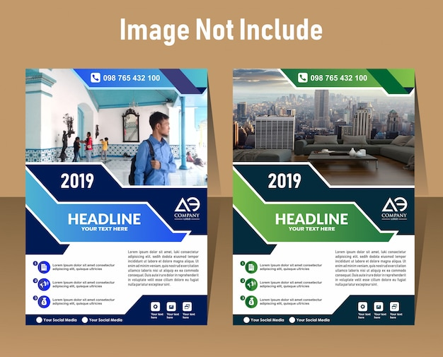 Geometric design a4 size cover flyer print template Premium Vector