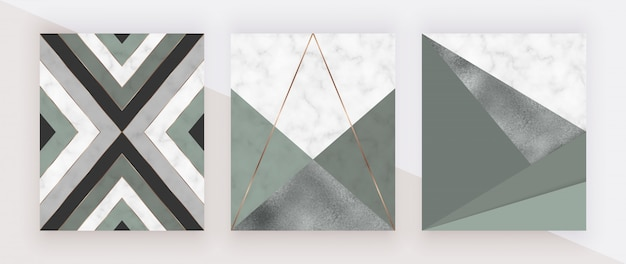 Geometric design with green and foil triangular shapes and golden lines on the marble texture. Premium Vector