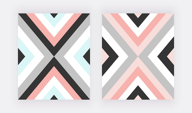 Geometric design with pink, blue and grey triangular. Premium Vector