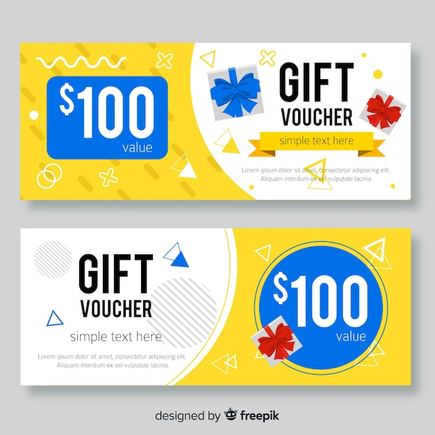 Geometric details gift voucher Free Vector