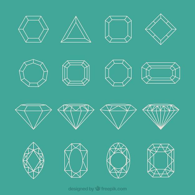 Collezione diamante geometric Vettore gratuito