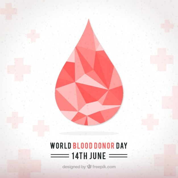 Geometric droplet world blood donor day background Premium Vector