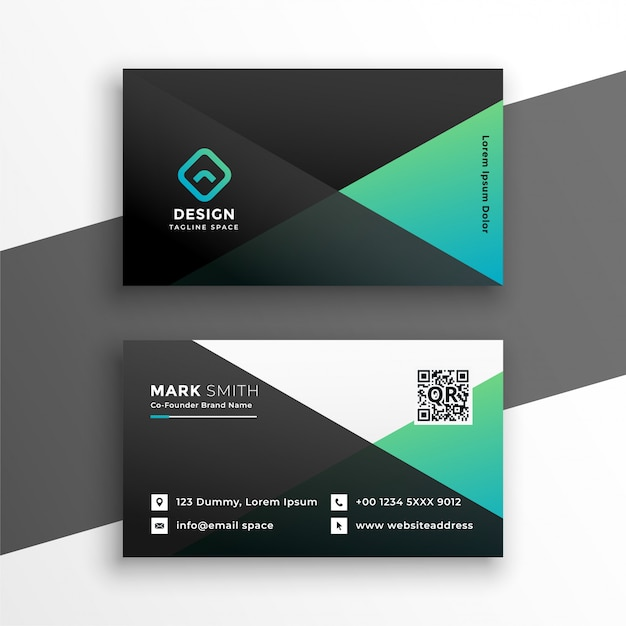 Geometric elegant turquoise color business card design Free Vector