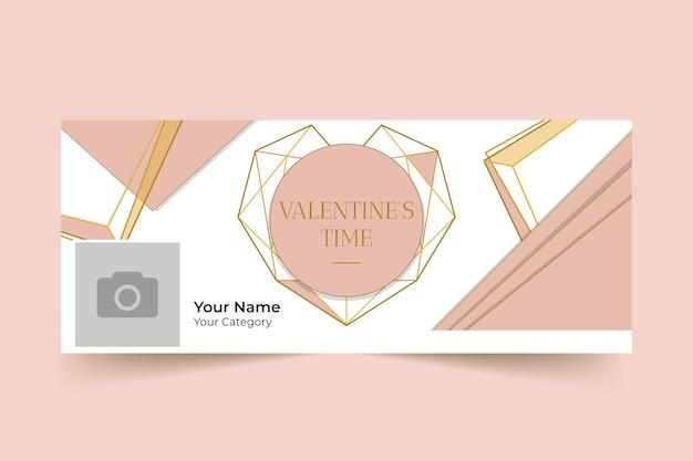 Geometric elegant valentine's day facebook cover Free Vector