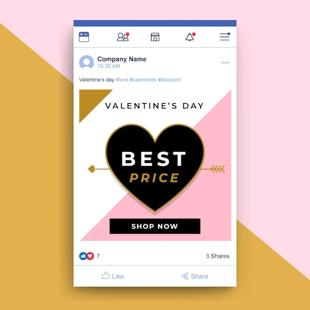 Post di facebook di san valentino elegante geometrico Vettore gratuito