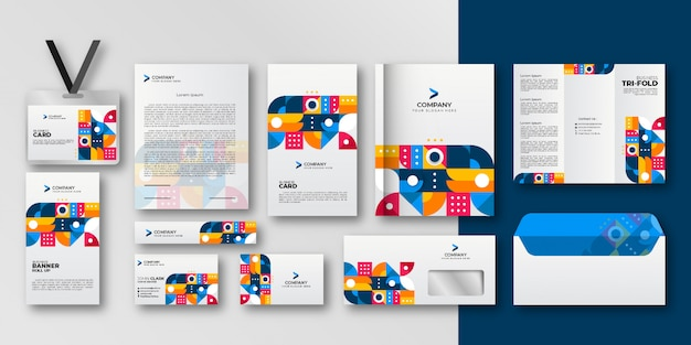 Geometric elements business stationery set Premium Vector