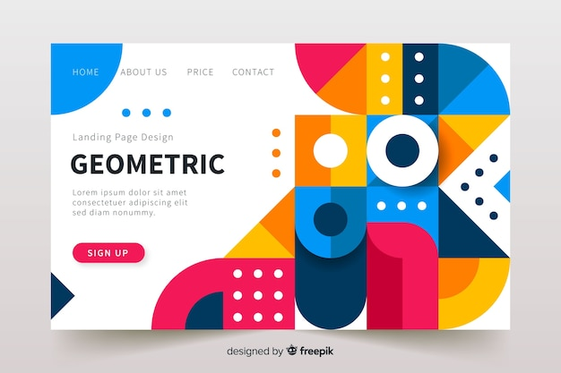 Geometric elements landing page template Free Vector