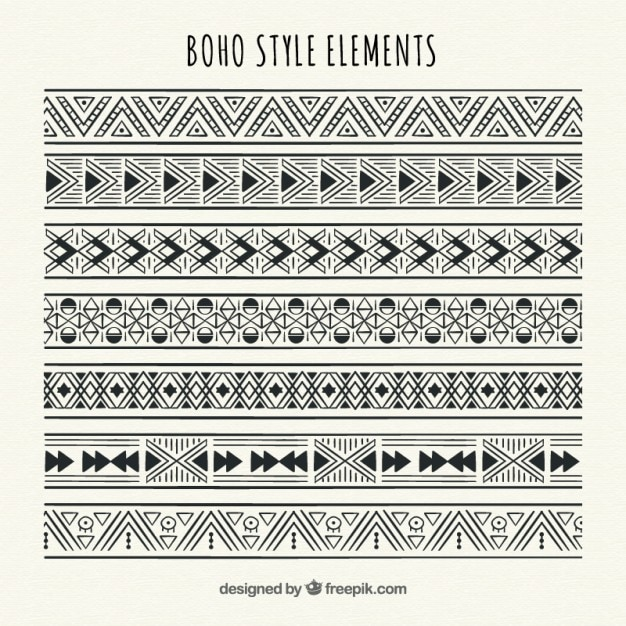 cd8a940e4570c Geometric ethnic borders set Vector | Free Download