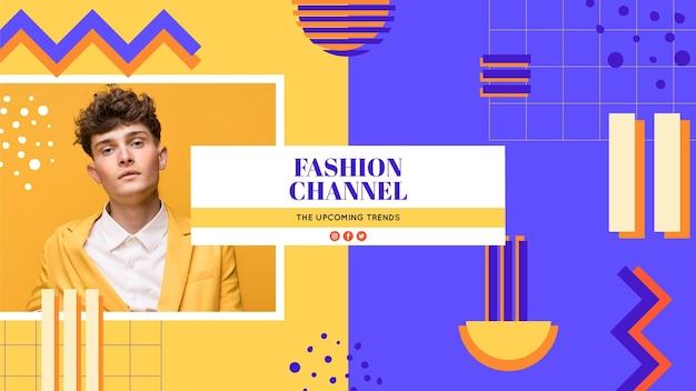 Arte del canale di youtube di moda geometrica Vettore gratuito