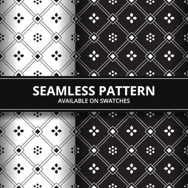 Geometric Flowers Batik Seamless Pattern Background