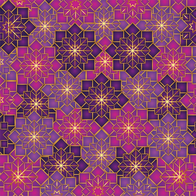 Geometric flowers pattern decoration Free Vector