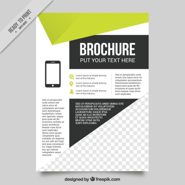 Geometric Flyer Template With Green Details Vector  Free Download