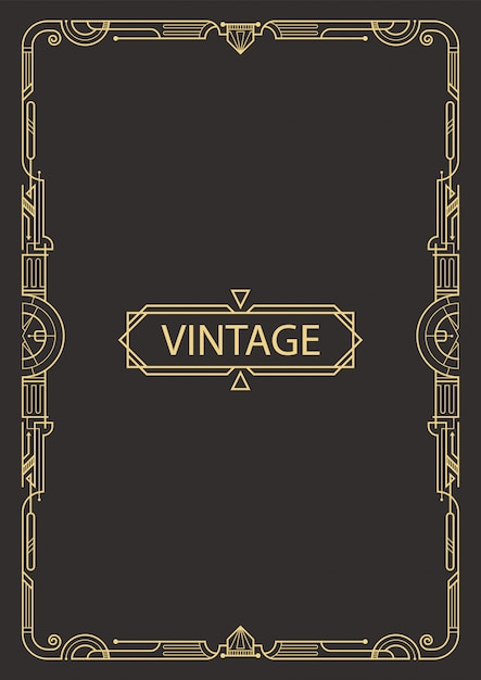 Geometric frame in art deco style. Premium Vector