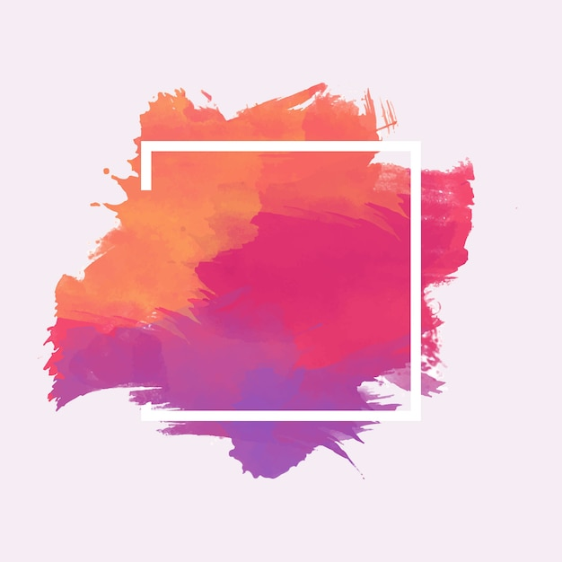 Geometric frame on colorful watercolor stain Free Vector