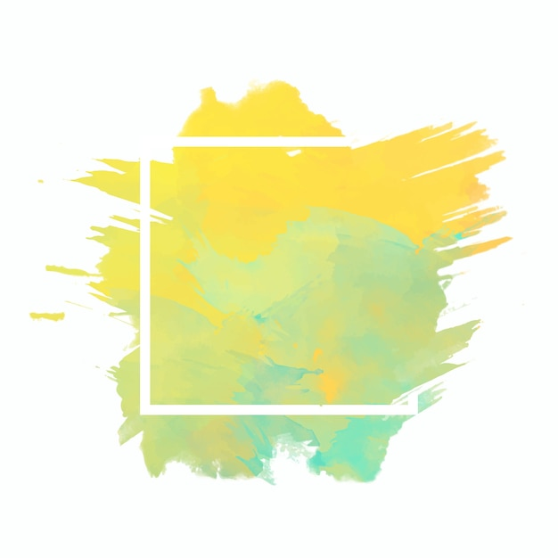 Geometric frame on watercolor stain Free Vector
